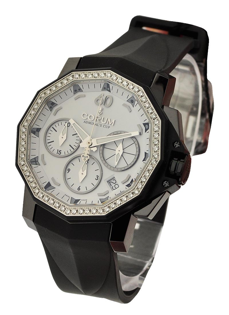 Corum Admirals Cup Chronograph in Black Steel with Diamond Bezel
