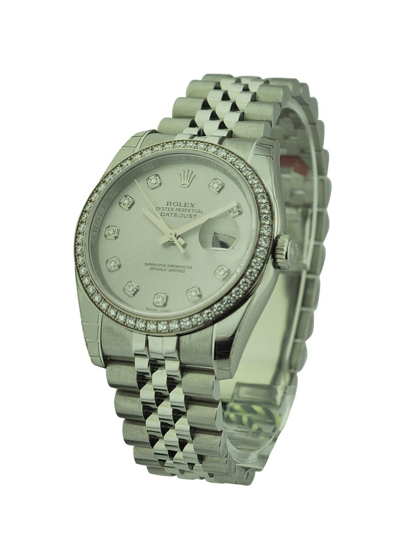 Rolex Unworn Datejust 36mm with Diamond Bezel 116244