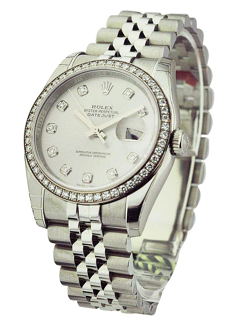 Rolex Unworn Datejust 36 mm in Steel with Diamond Bezel