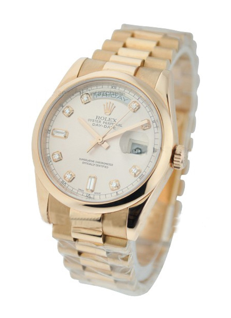 Rolex Unworn Rose Gold Men's President Day   Date with Smooth Bezel