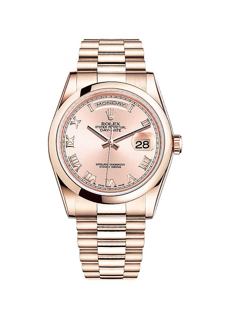 Rolex Unworn President Day-Date in Rose Gold with Smooth Bezel
