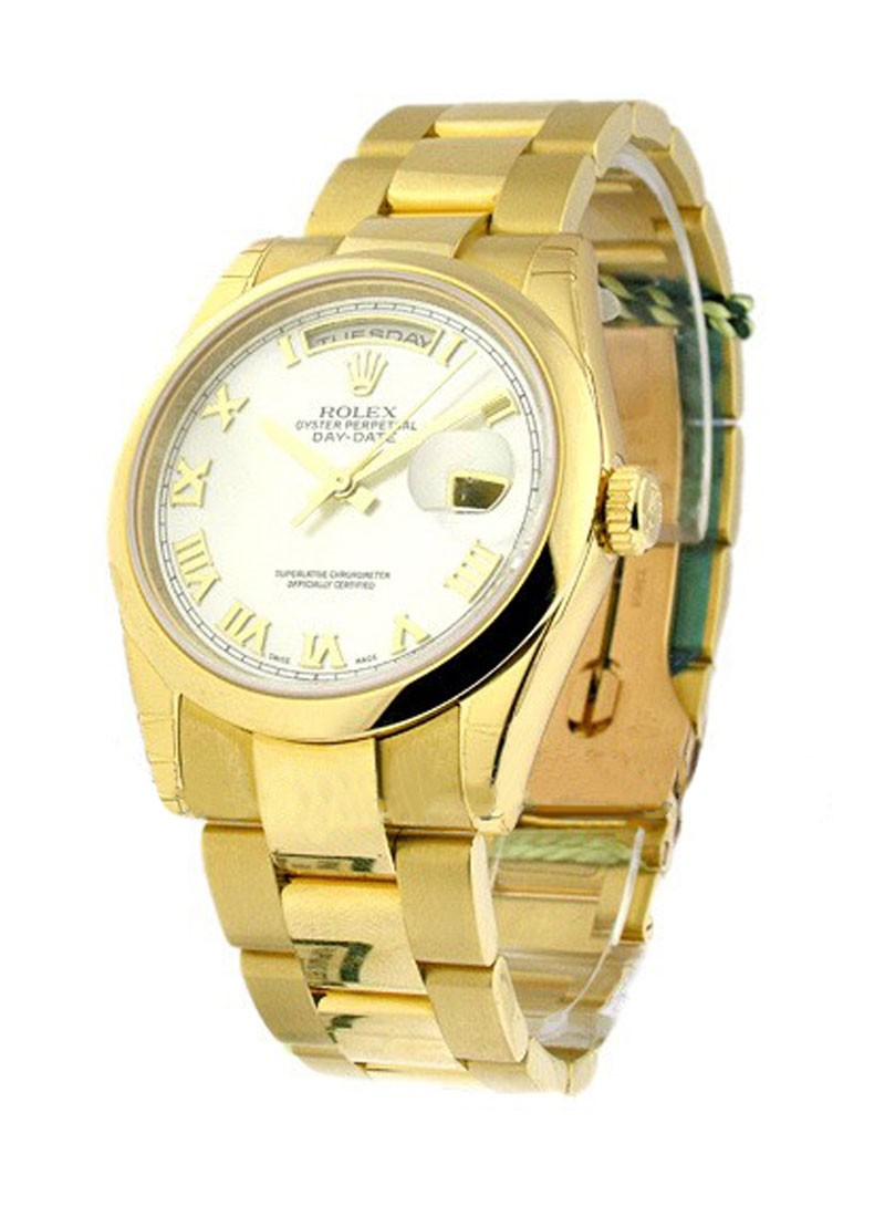 Rolex Unworn Day-Date President 36mm in Yellow Gold with Fluted Bezel