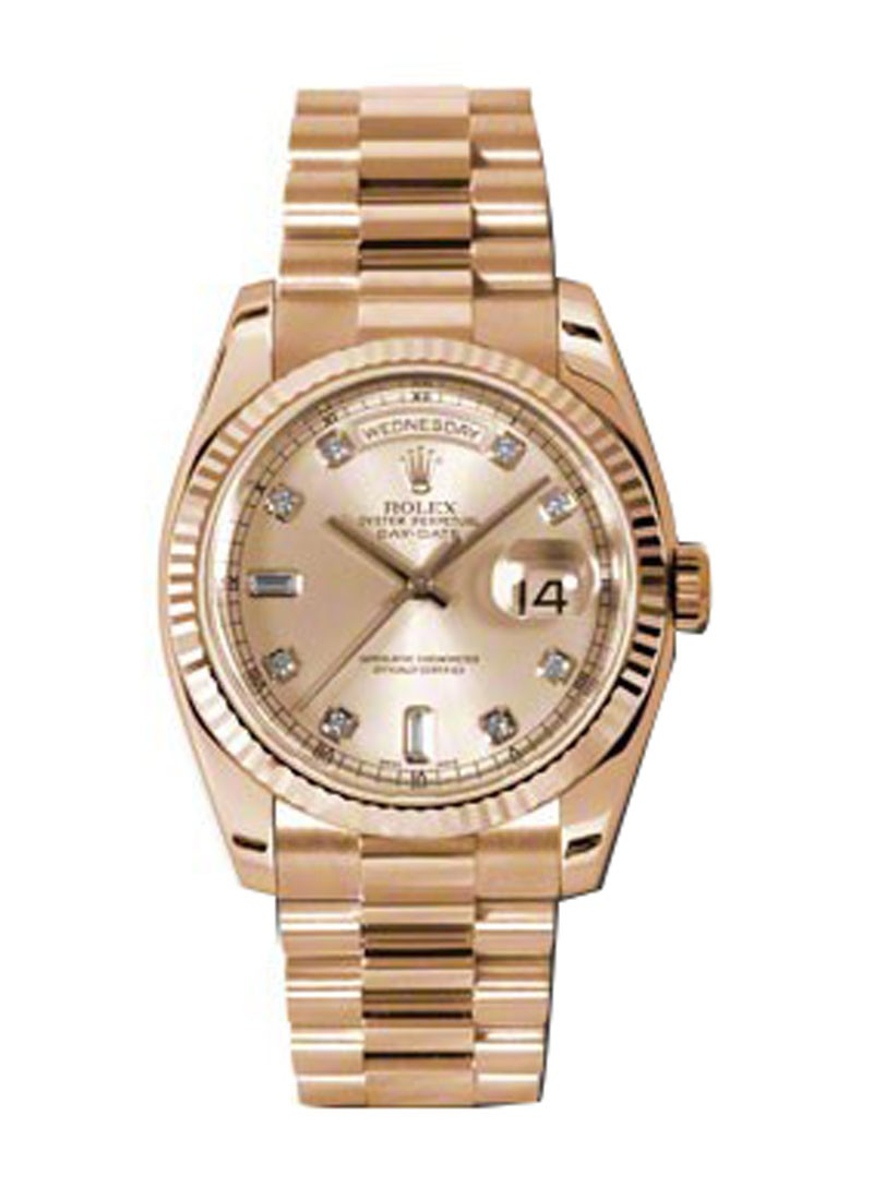 Rolex Unworn Men's Rose Gold Day   Date President with Fluted Bezel