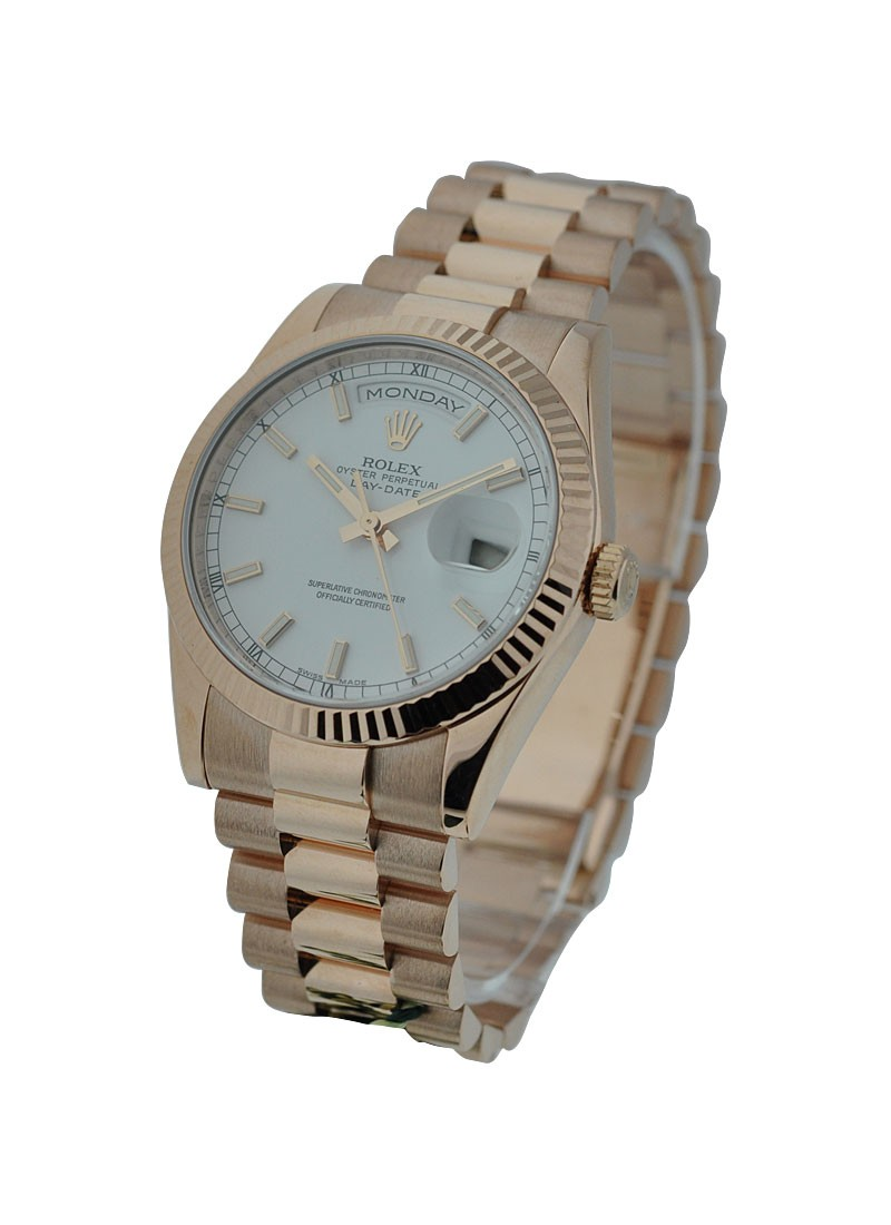 Rolex Unworn Men's Rose Gold Day   Date President in Fluted Bezel