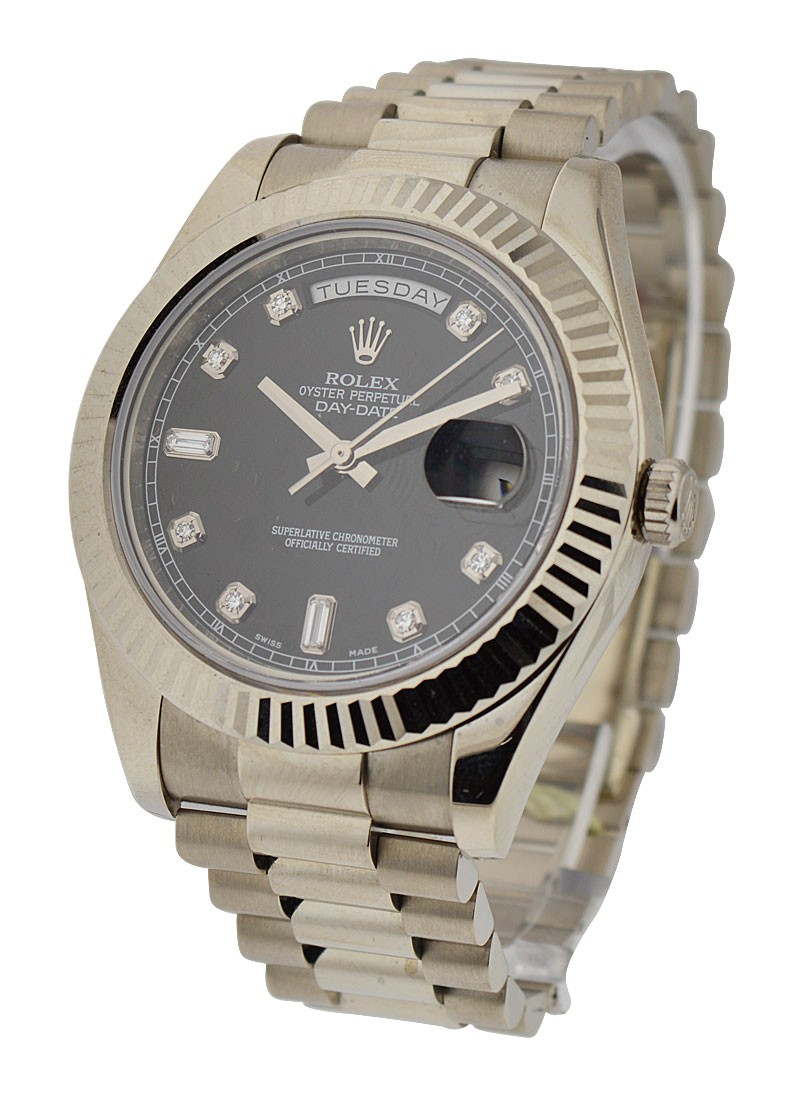 Rolex Unworn Day-Date II President in White Gold with Fluted Bezel