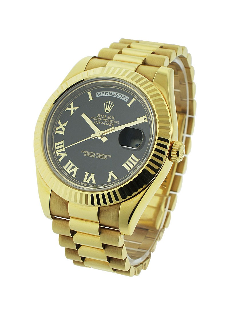 Rolex Unworn Day-Date II President  in Yellow Gold with Fluted Bezel