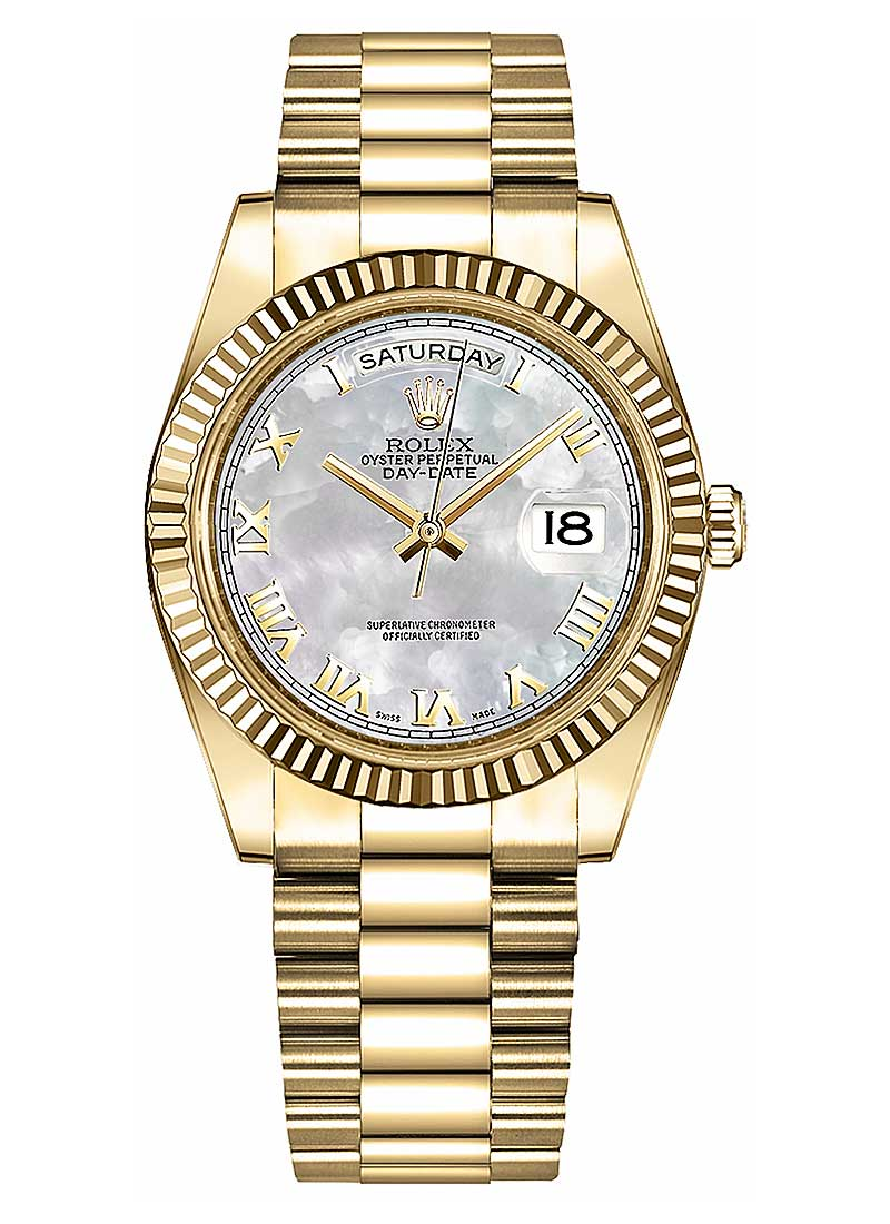Rolex Unworn Day-Date 36mm President in Yellow Gold with Fluted Bezel