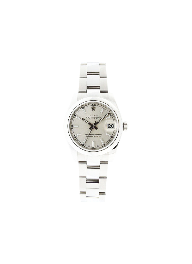 Pre-Owned Rolex Mid Size Datejust 31mm in Steel with Smooth Bezel