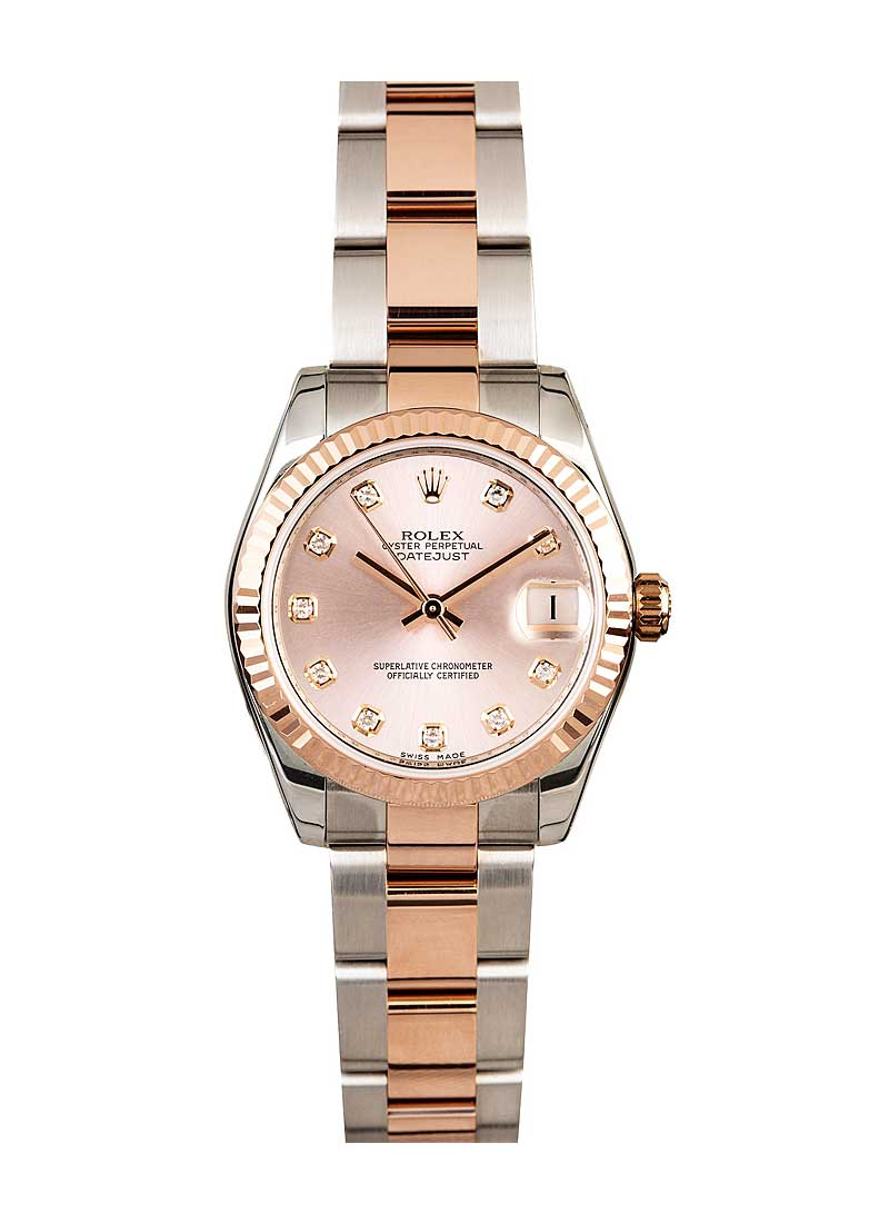 Rolex Unworn Datejust Mid Size 31mm in Steel with Rose Gold Domed Bezel