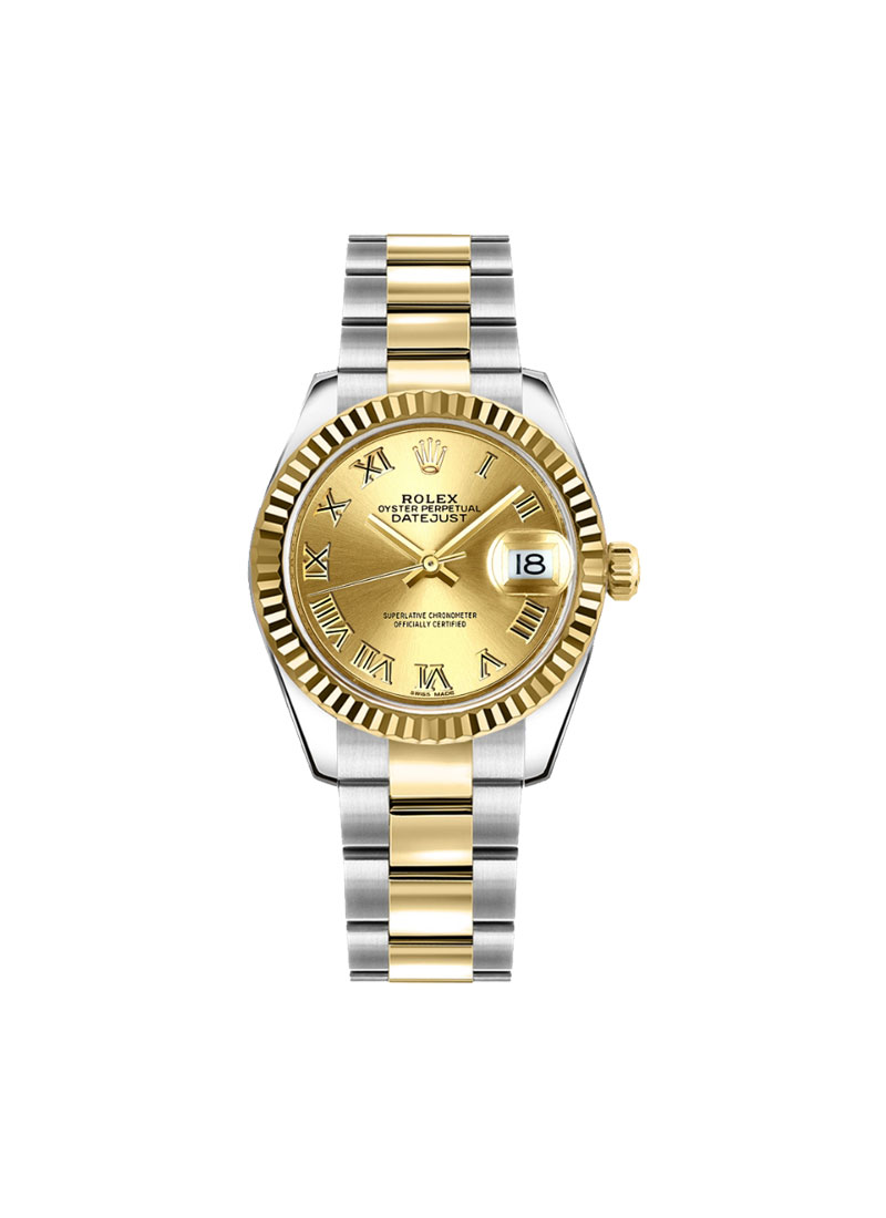 Rolex Unworn Datejust 31mm Mid Size in Steel with Yellow Gold Domed Bezel