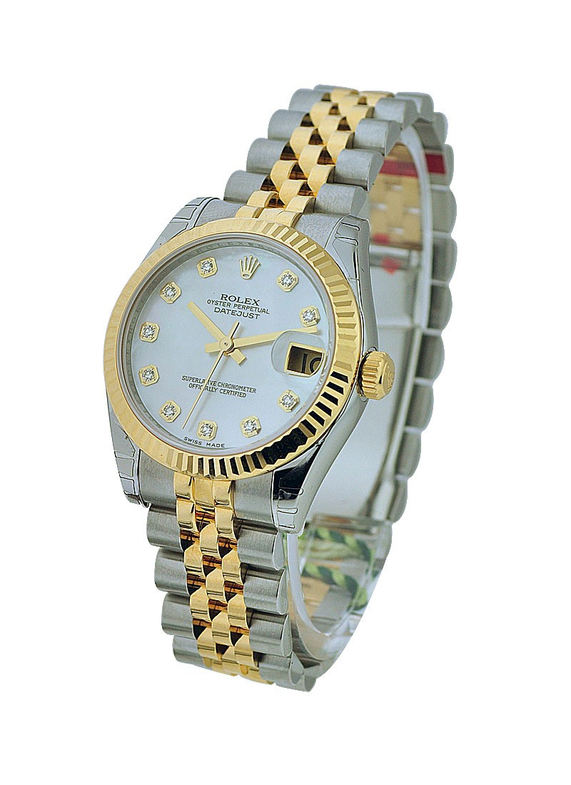 Rolex Unworn 31mm Midsize Datejust in Steel with Yellow Gold Fluted Bezel