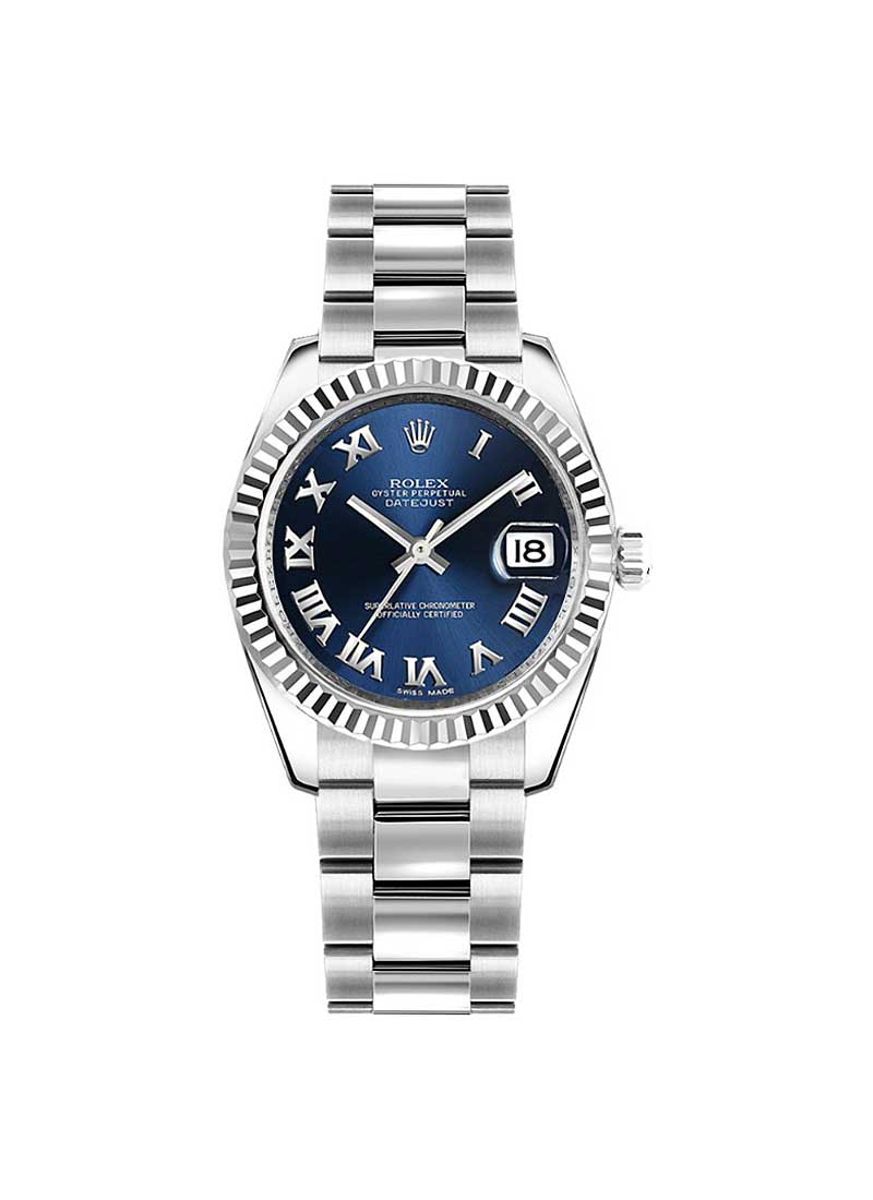 Rolex Unworn Datejust 31mm Mid Size in Steel with White Gold Fluted Bezel