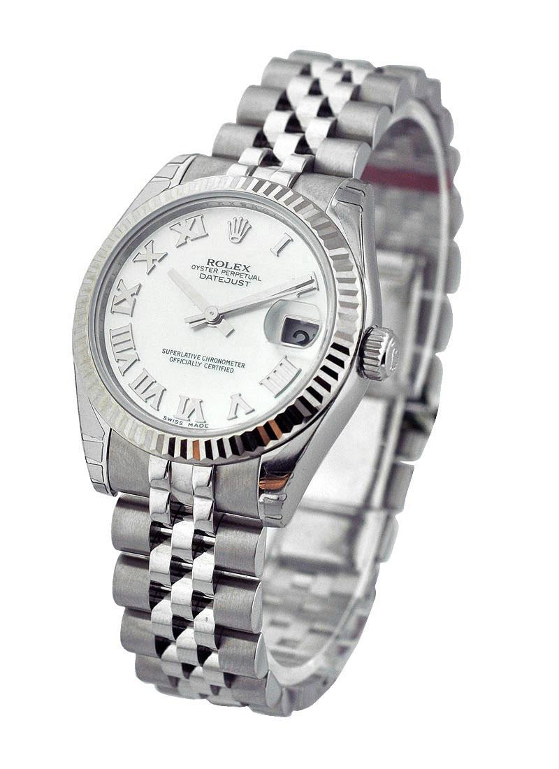 Rolex Unworn Mid Size Datejust 31 in Steel with White Gold Fluted Bezel