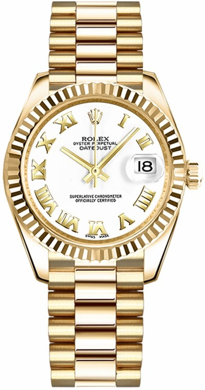 Rolex Unworn Datejust Midsize President in Yellow Gold with Fluted Bezel