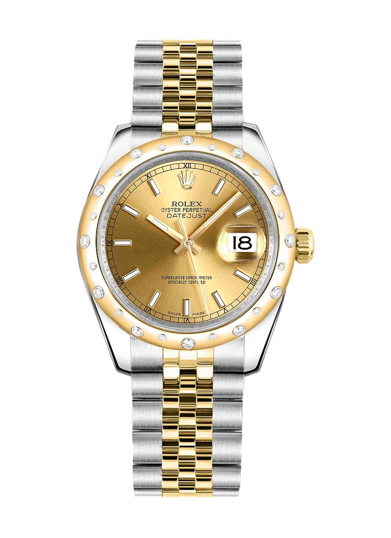 Rolex Unworn Datejust Mid Size 31mm in Steel with Yellow Gold Scattered Bezel