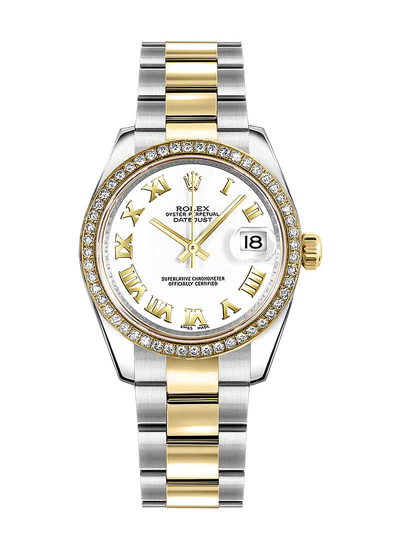Rolex Unworn Mid Size 31mm Datejust 2-Tone with Diamond Bezel