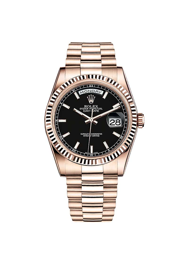 Rolex Unworn Day Date President in Rose Gold with Fluted Bezel