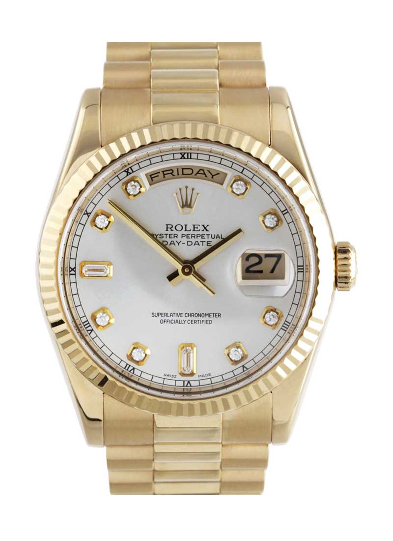 Rolex Unworn Day-Date President in Yellow Gold with Fluted Bezel