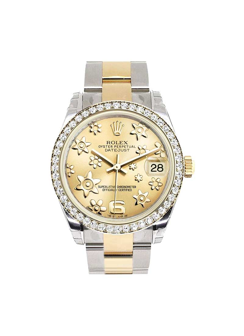 Rolex Unworn Datejust in Steel with Yellow Gold Diamond Bezel