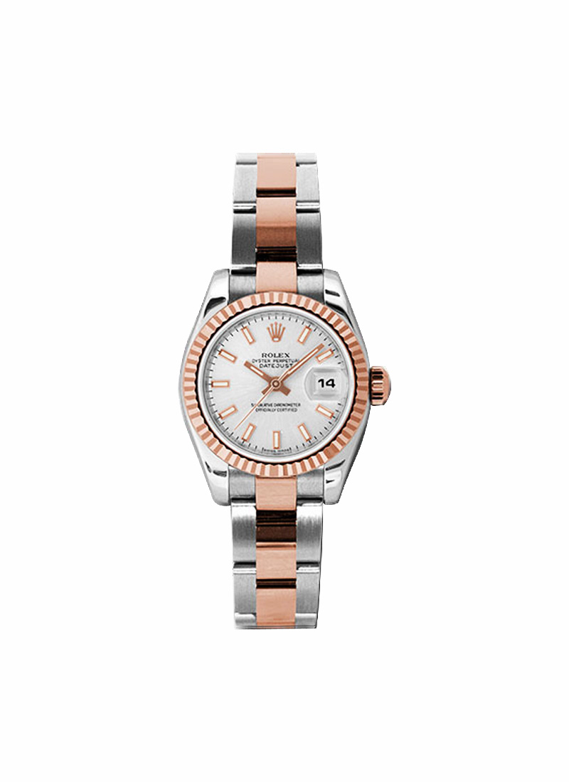 Rolex Unworn Datejust Ladies in Steel with Rose Gold Fluted Bezel