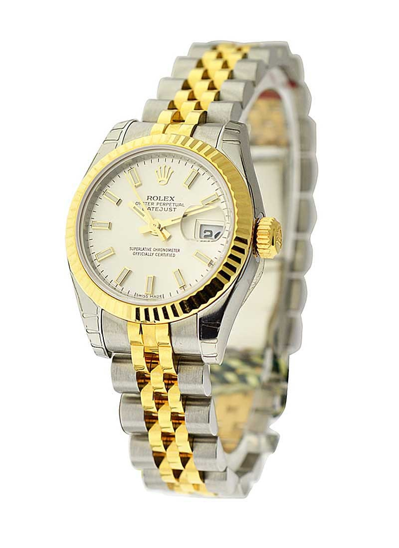 Rolex Unworn Ladies 26mm Datejust in Steel with Yellow Gold Fluted Bezel