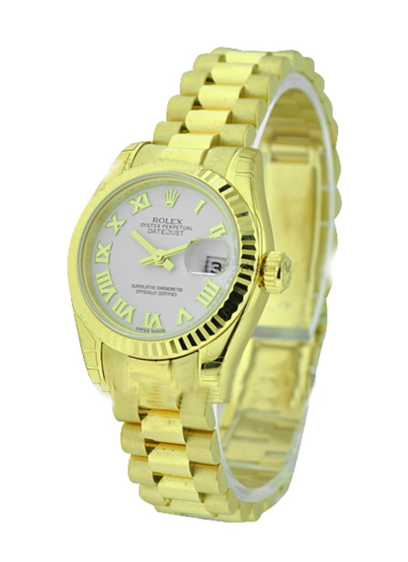 Rolex Unworn President Ladies in Yellow Gold with Fluted Bezel