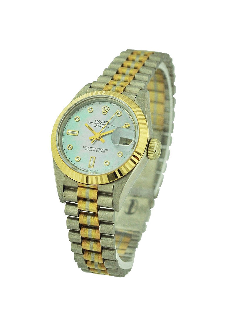 Rolex Used Ladies President Tridor in White Gold with yellow Gold Fluted Bezel