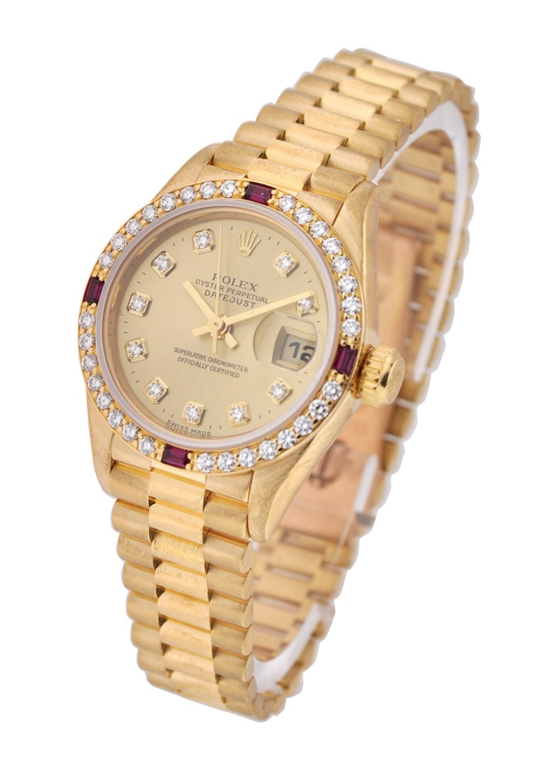 Rolex Used Ladies President in Yellow Gold with Factory Diamond and Ruby Bezel