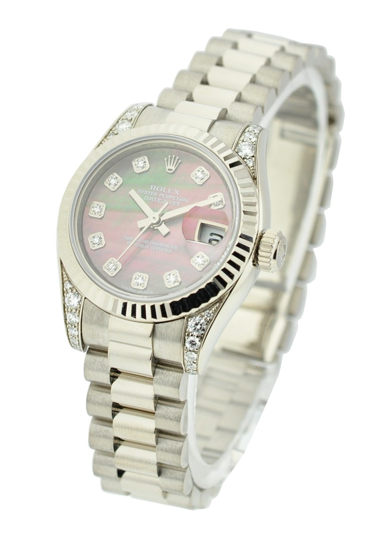 Rolex Unworn President Lady in White Gold with Fluted Bezel