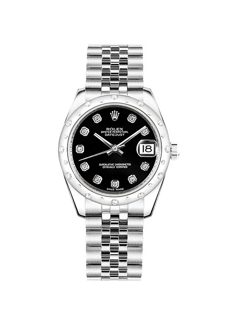 Rolex Unworn Mid Size Datejust in Steel with White Gold 24 Diamonds Bezel