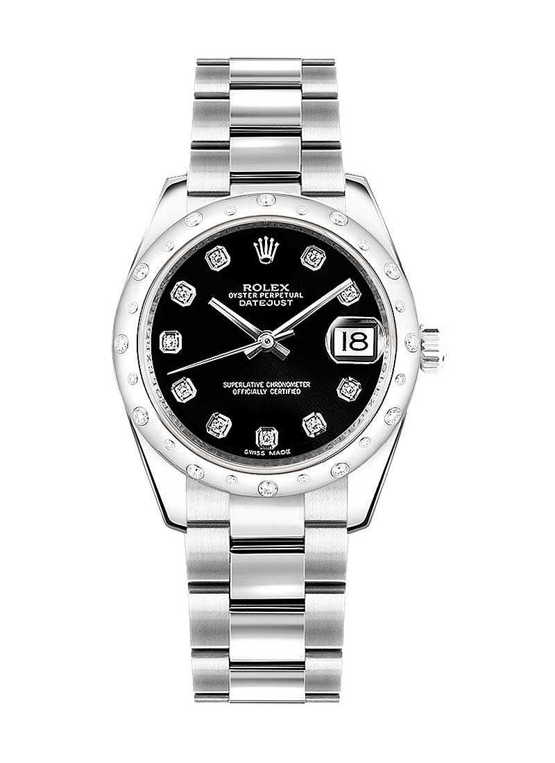Rolex Unworn Mid Size Datejust 31mm in Steel with Scattered Diamond Bezel