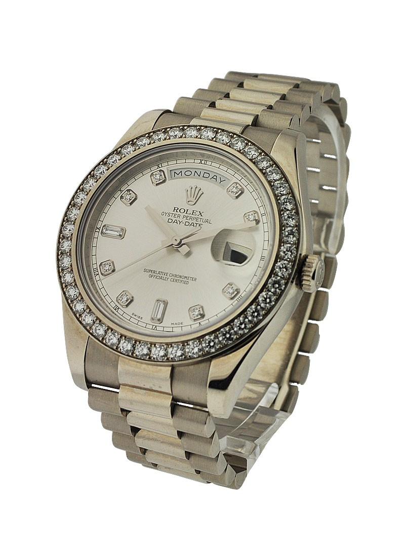 Rolex Unworn Day-Date II President in White Gold with Diamond Bezel