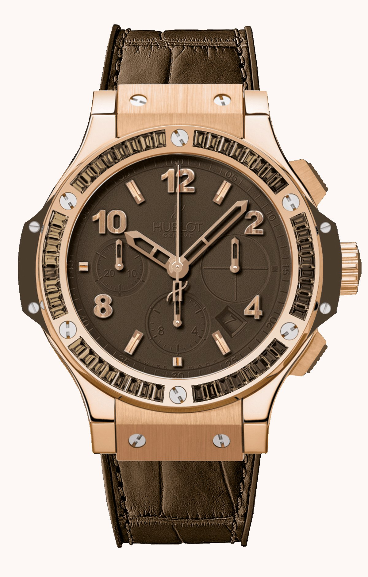 Hublot Big Bang Brown Carat Gold Tutti Frutti in Rose Gold with Brown Baguette Diamond Bezel