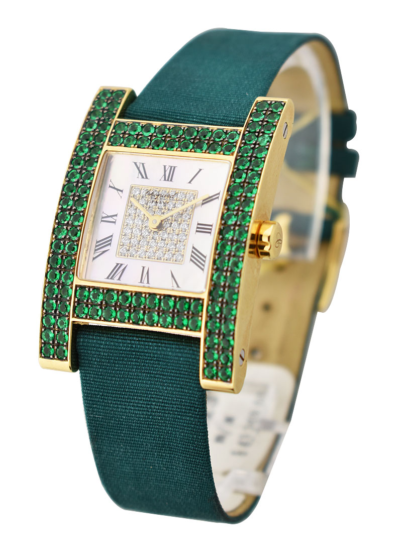 Chopard H Watch in Yellow Gold with Green Emerald Bezel