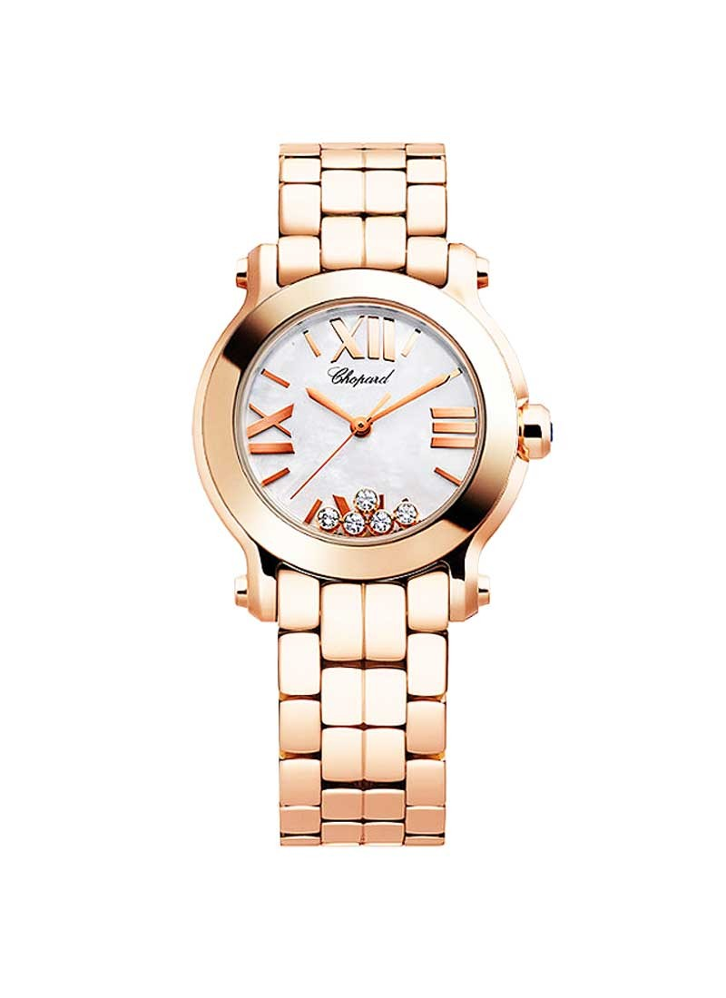 Chopard Happy Sport Round Ladies 5 Floating Diamonds in Rose Gold