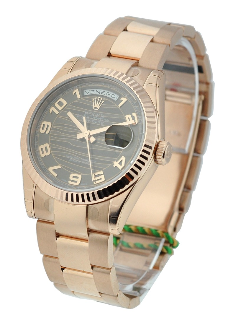 Rolex Unworn Rose Gold Men's Day   Date President with Fluted Bezel