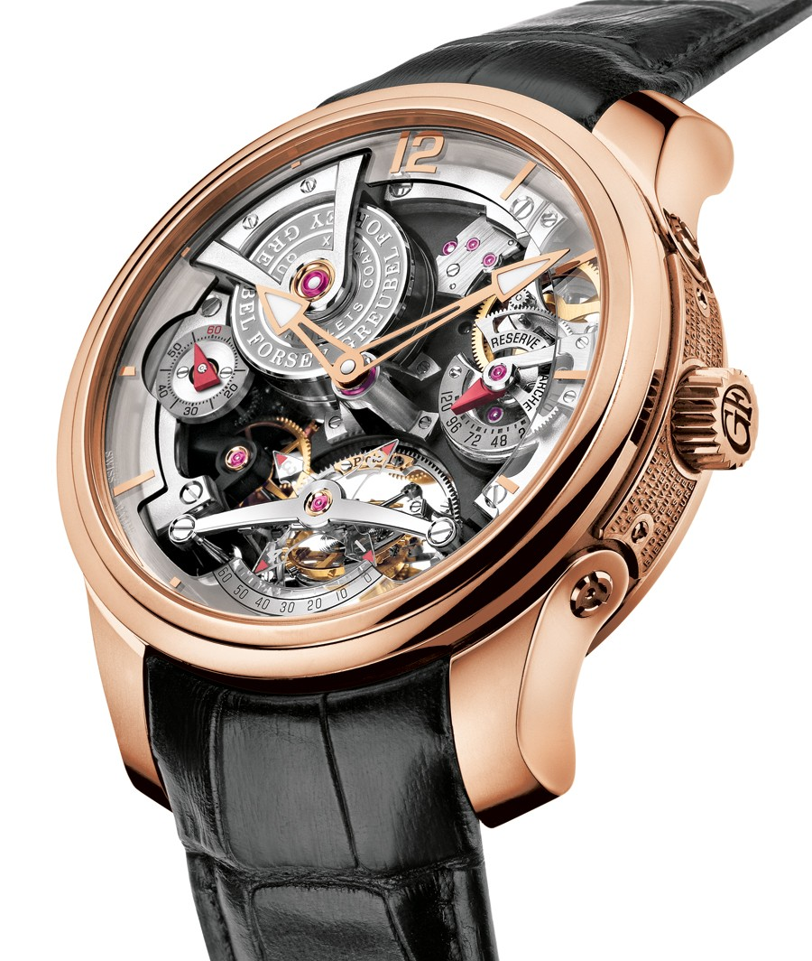 gold in rose on strap watch tourbillon main essential greubel black dial openworked double with watches leather technique forsey