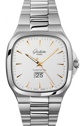 Glashutte Senator Seventies PanoRama Date Automatic in Steel