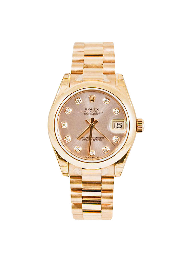 Rolex Unworn DateJust Mid Size 31mm in Rose Gold with Domed Bezel