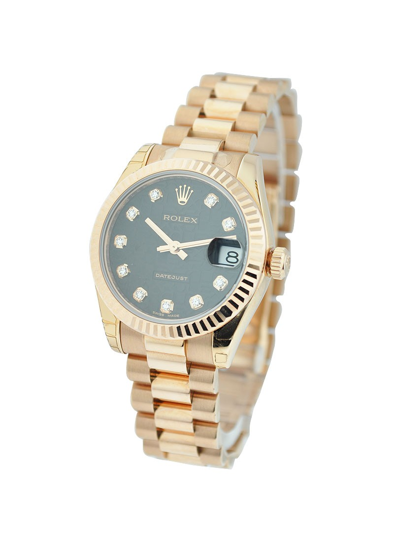 Rolex Unworn  Mid Size Rose Gold President with Fluted Bezel