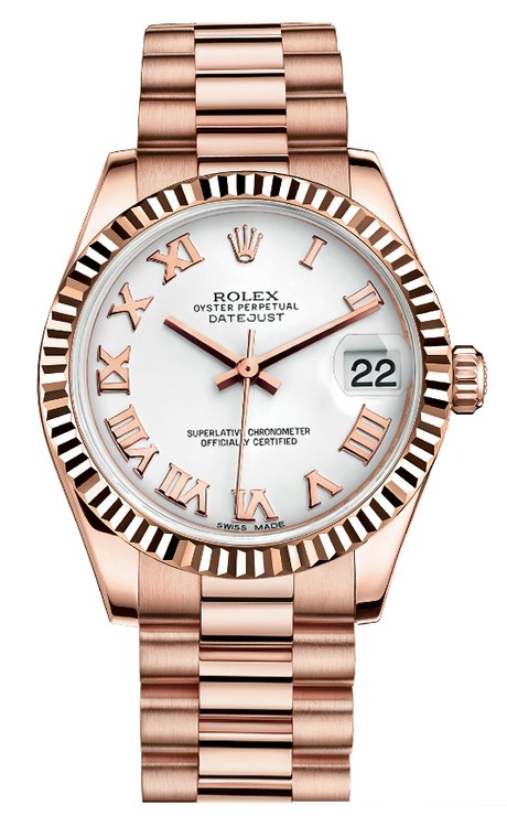 Rolex Unworn DateJust Mid Size in Rose Gold President with Fluted Bezel