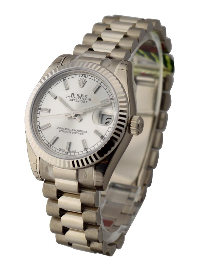 Rolex Unworn Mid Size President in White Gold with Fluted Bezel