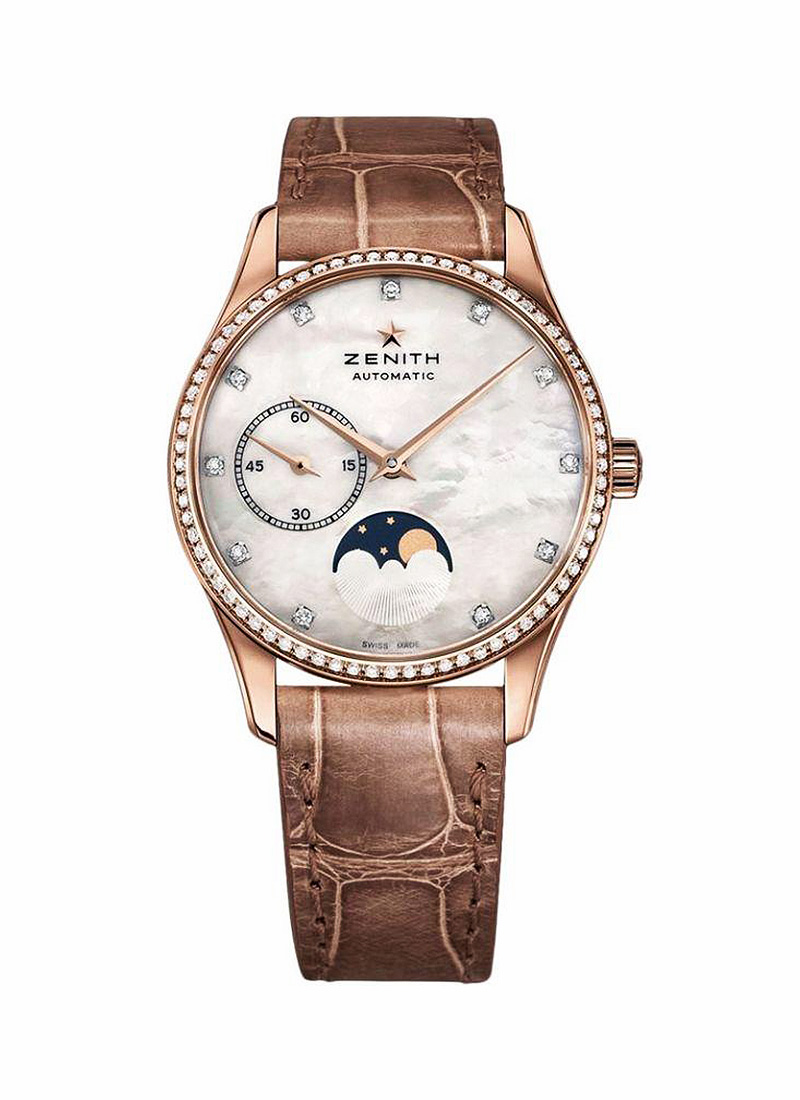 Zenith Elite Lady Ultra Thin Moonphase in Rose Gold with Diamond Bezel