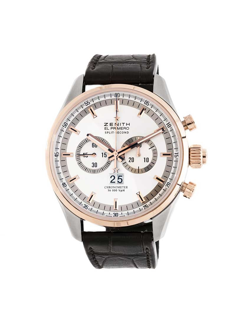 Zenith El Primero Rattrapante in Stainless Steel with Rose Gold Bezel