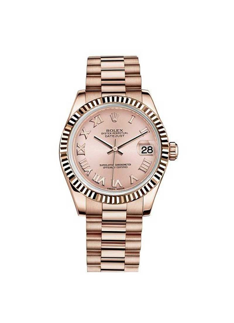Rolex Unworn DateJust Mid Size in Rose Gold with Fluted Bezel