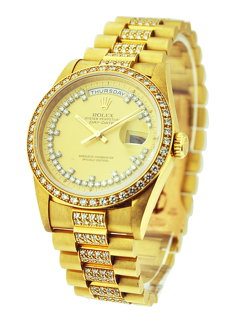 Pre-Owned Rolex Day-Date - President - Special String Diamond  - 36mm - Yellow Gold