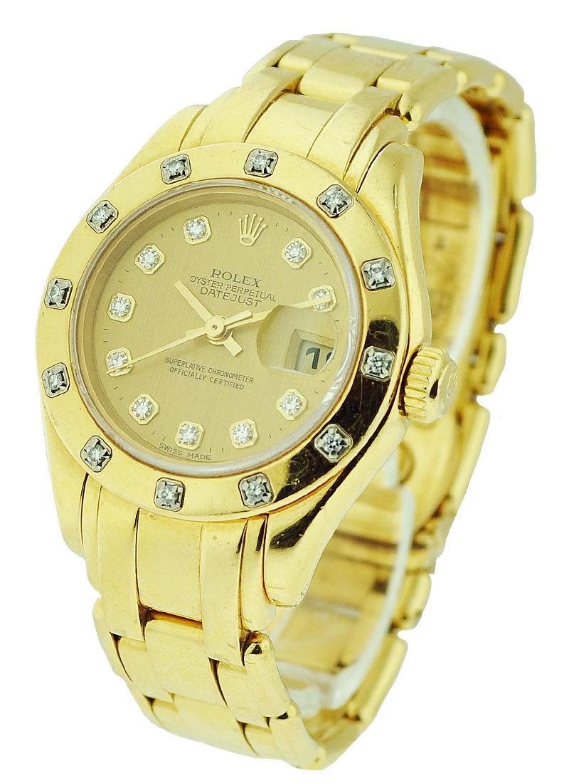 Pre-Owned Rolex Masterpiece with Yellow Gold 12 Diamond Bezel