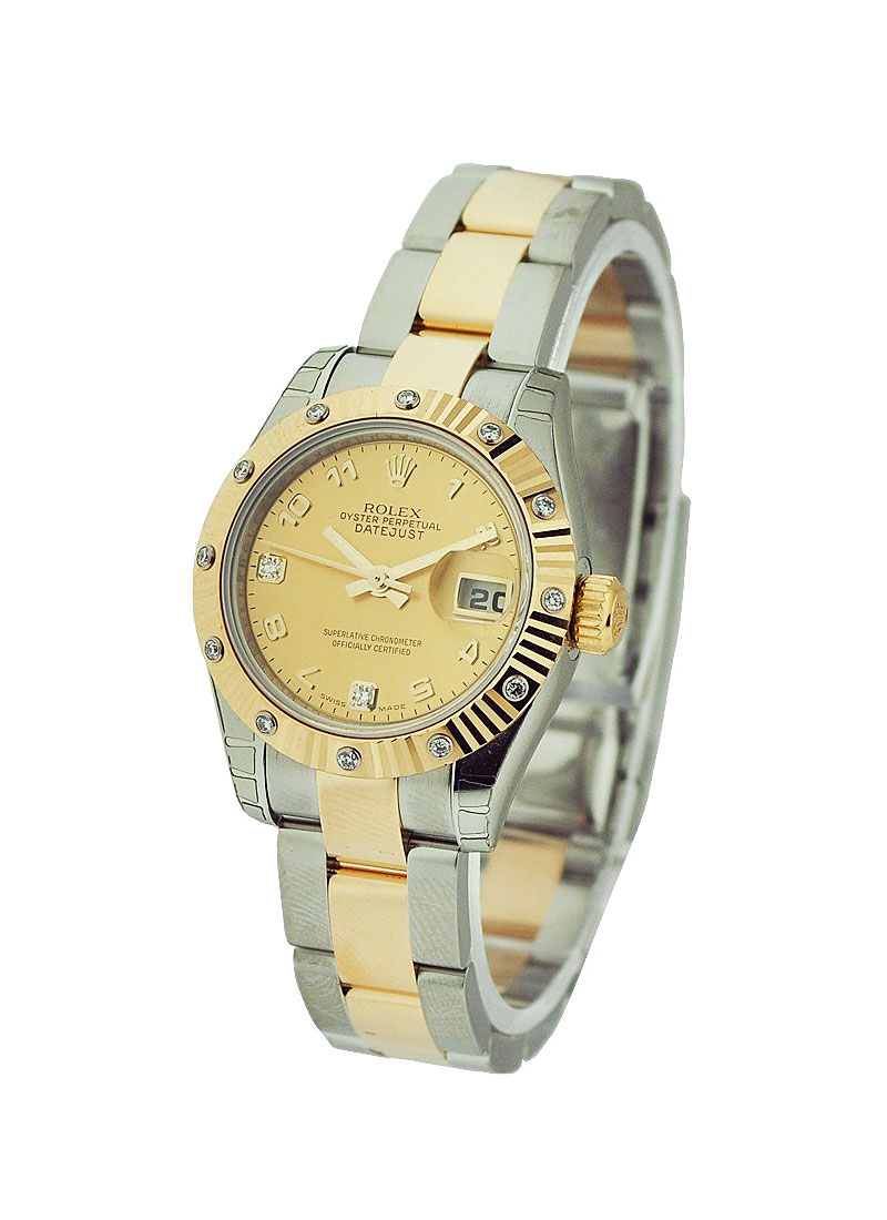 Rolex Unworn Datejust in Steel with Yellow Gold Fluted Diamond Bezel