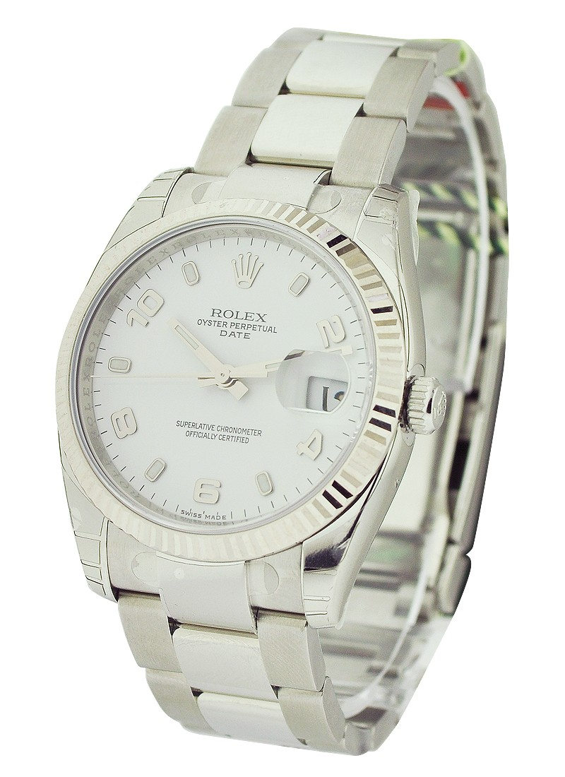Rolex Unworn Mens Date Steel with Fluted Bezel