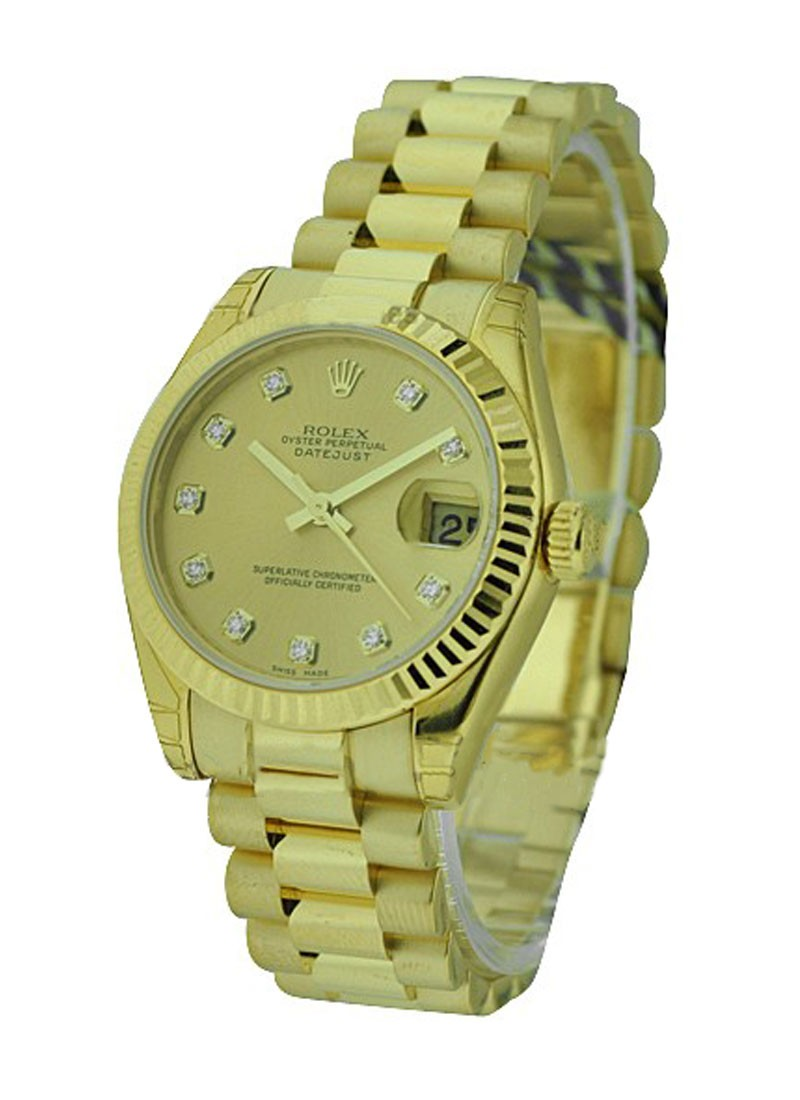 Rolex Unworn Midsize 31mm Datejust in Yellow Gold    178278